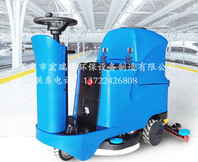 山西大同商场地下车库使用保定宏瑞达X2驾驶式洗地机进行地面清洁